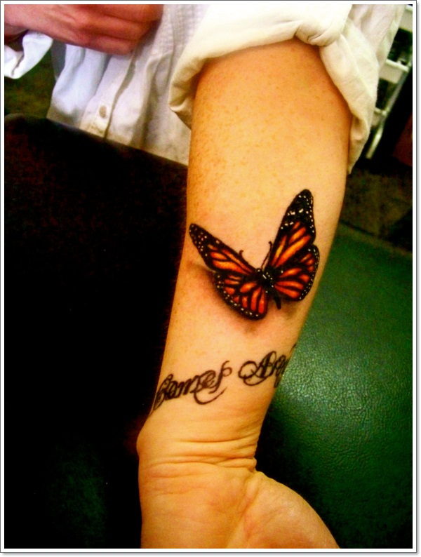 Awesome 3D Butterfly Tattoo On Forearm