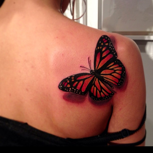 Awesome 3D Butterfly Tattoo On Right Back Shoulder
