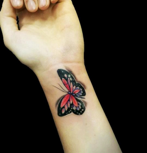 Awesome 3D Butterfly Tattoo On Wrist