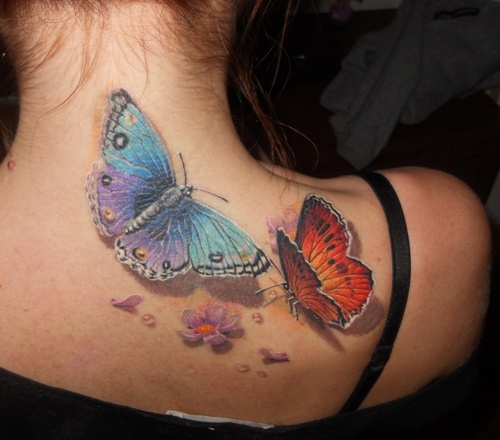 Awesome 3D Two Butterfly Tattoo On Upper Back