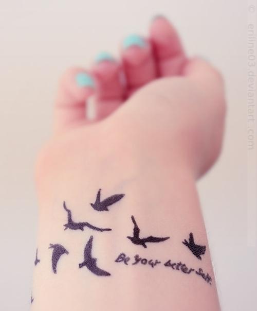 094b079fe66d7 Be Your Better Self - Black Flying Birds Tattoo On Girl Wrist