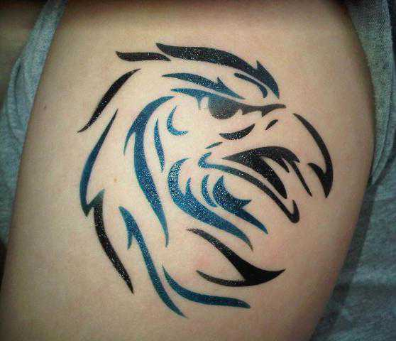 black airbrush eagle head tattoo design for arm. Black Bedroom Furniture Sets. Home Design Ideas