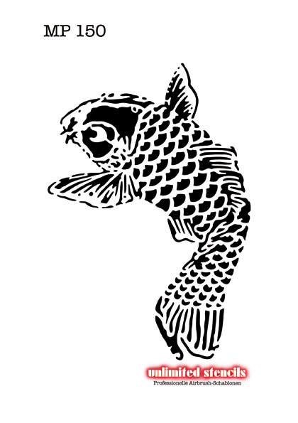 16 temporary airbrush tattoo designs for Koi fish stencil