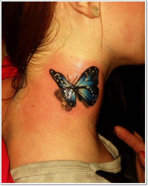 Black And Blue 3D Butterfly Tattoo On Girl Side Neck