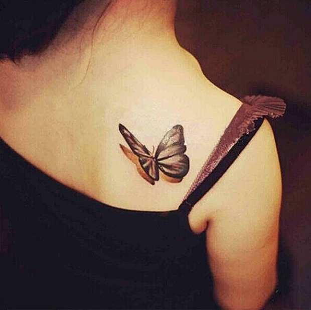 6315c63a4 Black And Grey 3D Butterfly Tattoo On Right Back Shoulder