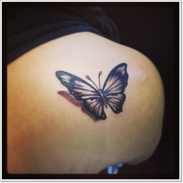 Black Ink 3D Butterfly Tattoo Design