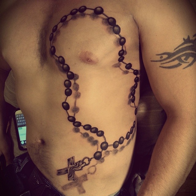 Black Ink 3d Rosary Cross Tattoo On Man Full Body