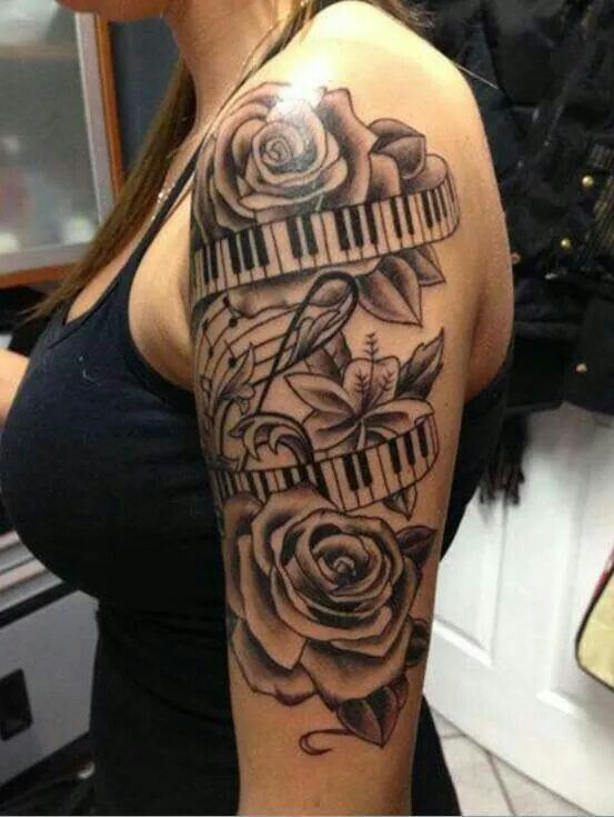 Black ink roses with keyboard tattoo on girl left half sleeve for Half sleeve tattoo for girls