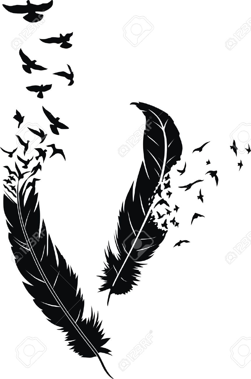 Feather designs with birds