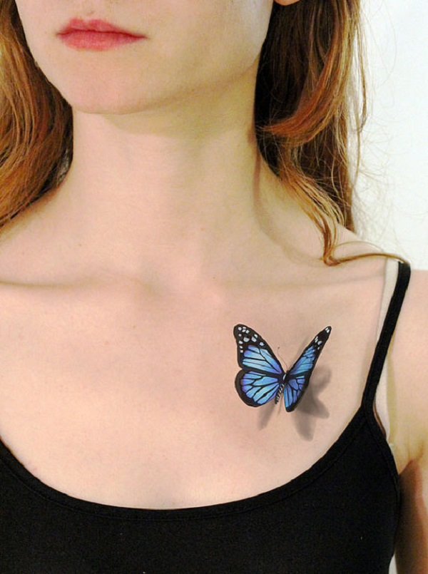 Blue And Black 3D Butterfly Tattoo On Girl Left Front Shoulder