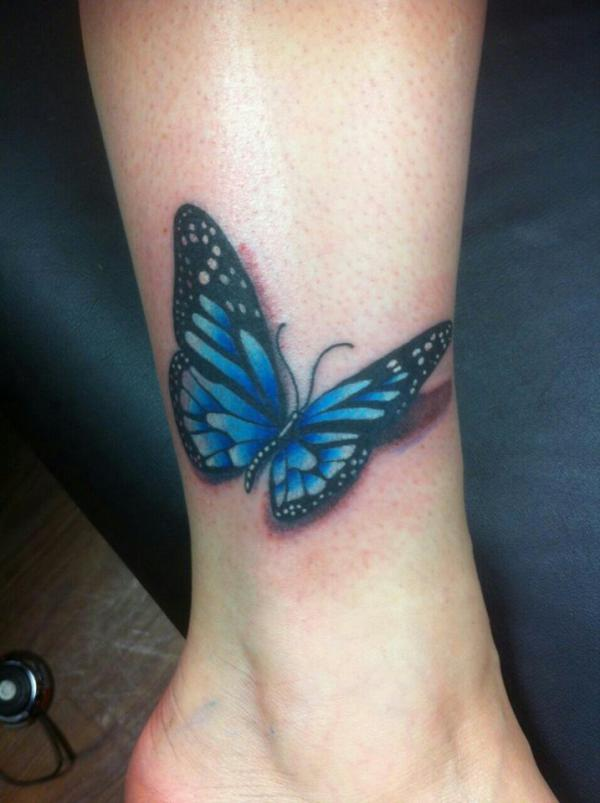 Blue And Black 3D Butterfly Tattoo On Leg