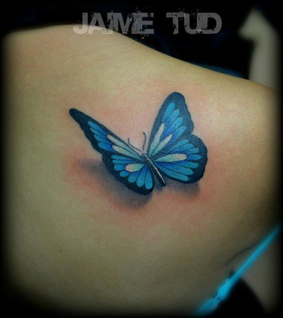 Blue And Black 3D Butterfly Tattoo On Right Back Shoulder