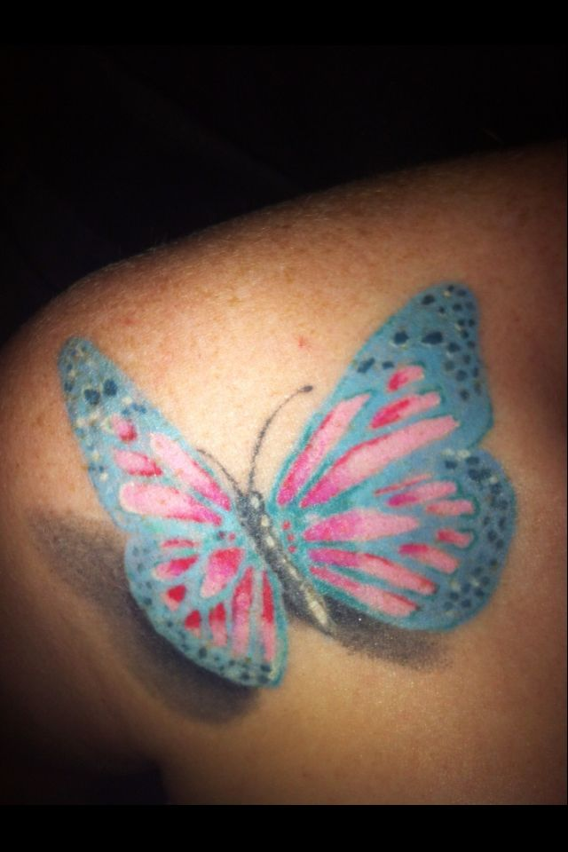 Blue And Pink Butterfly Tattoo Design For Back Shoulder