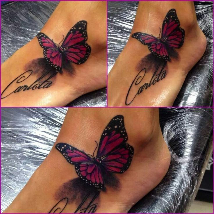 Carlota - Pink And Black 3D Butterfly Tattoo On Foot
