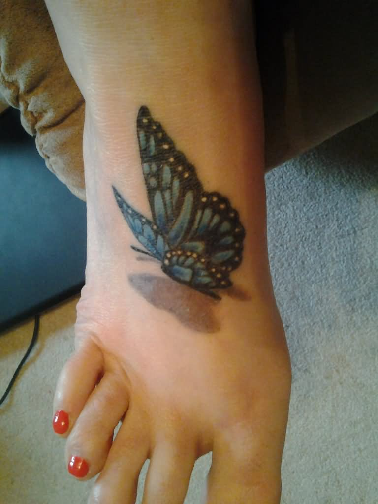 Classic 3D Butterfly Tattoo On Girl Foot