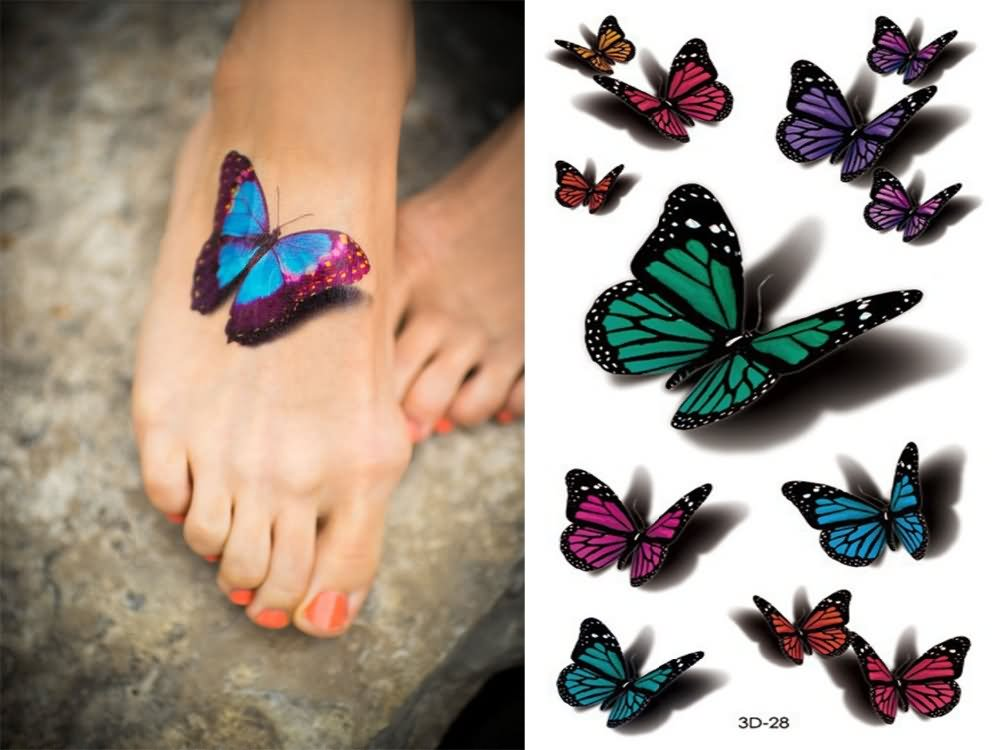 Colorful 3D Butterflies Tattoo Design For Girl Foot