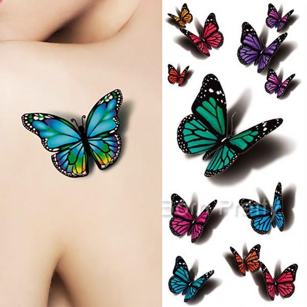 Colorful 3D Butterflies Tattoo Design