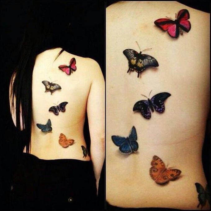 Colorful 3D Butterflies Tattoo On Full Back