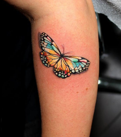 6cbf344b9 Colorful 3D Butterfly Tattoo Design For Arm