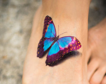 Colorful 3D Butterfly Tattoo On Foot