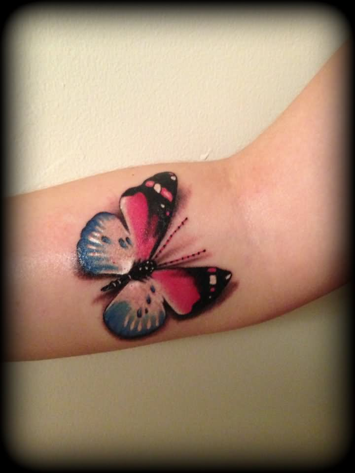 Colorful 3D Butterfly Tattoo On Forearm