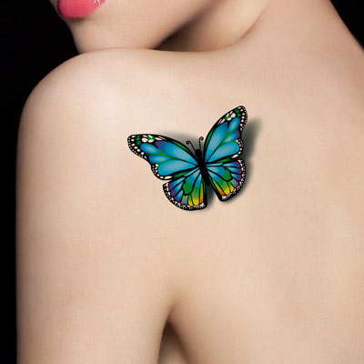 Colorful 3D Butterfly Tattoo On Girl Left Back Shoulder