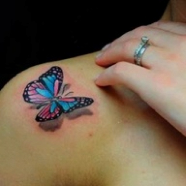 Colorful 3D Butterfly Tattoo On Shoulder
