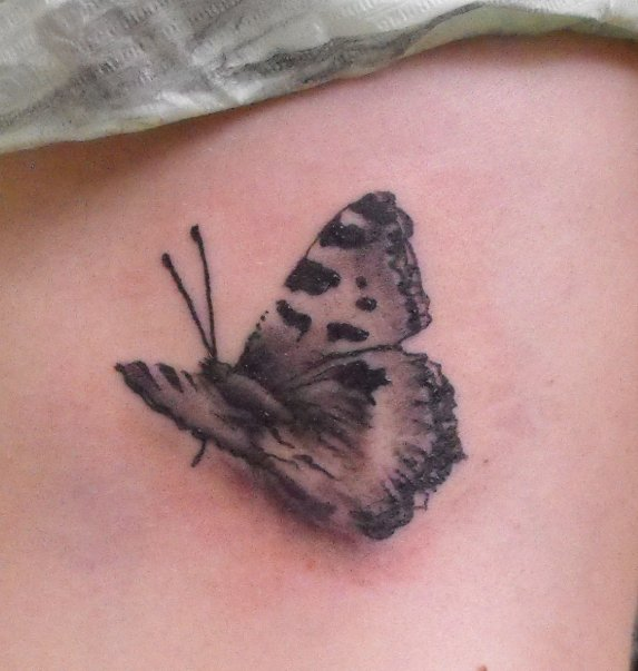 Cool Black And Grey 3D Butterfly Tattoo Design