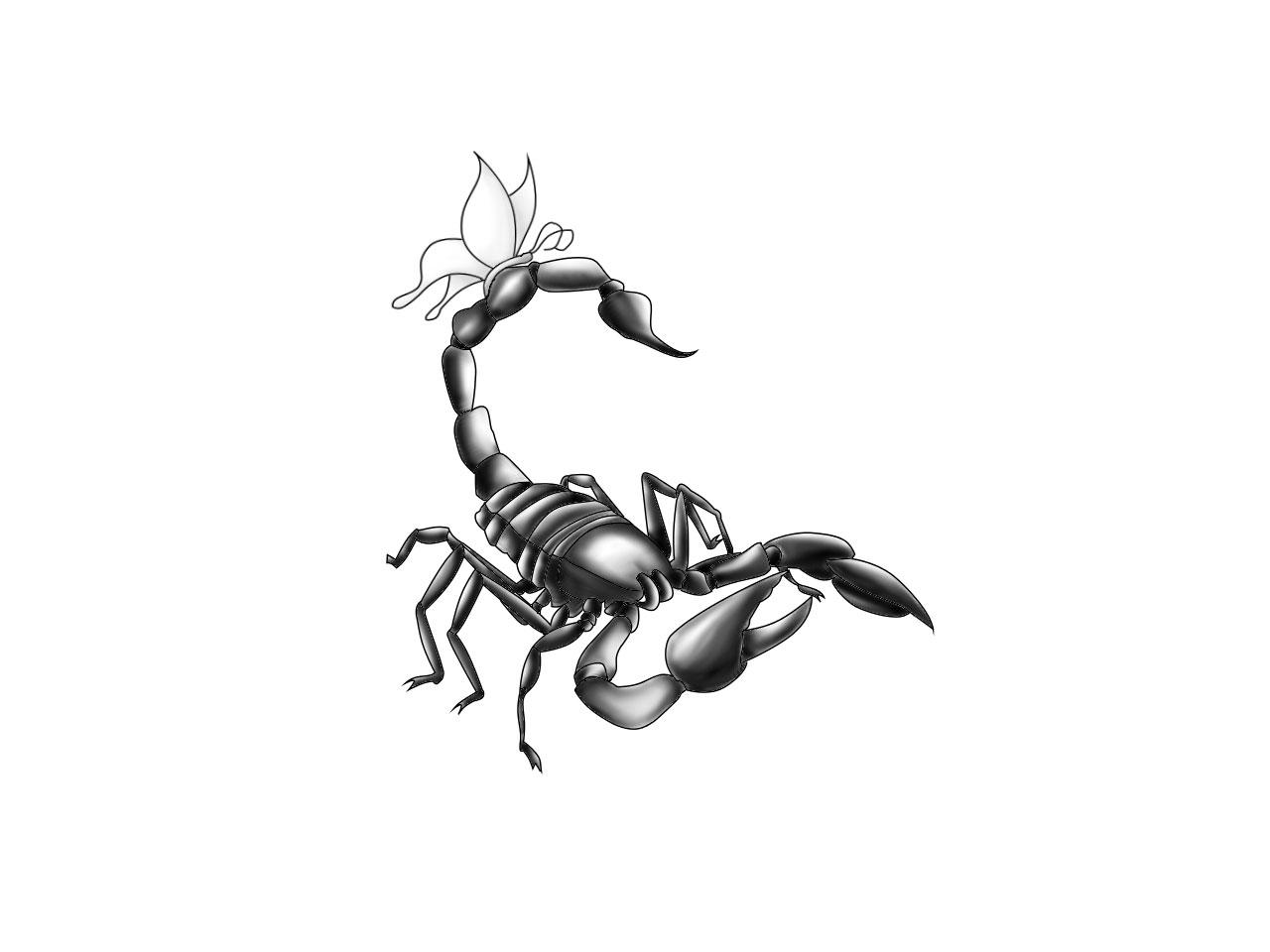 3d scorpion tattoo designs - Cool Black Ink 3d Scorpion Tattoo Design