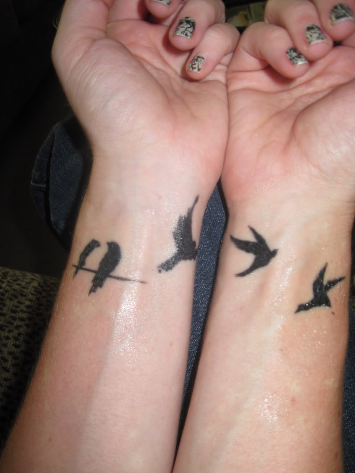 Flying Birds Tattoos On Girl Wrists