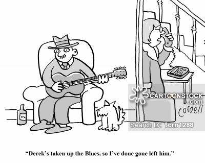 Funny Blues Musician Cartoon Picture