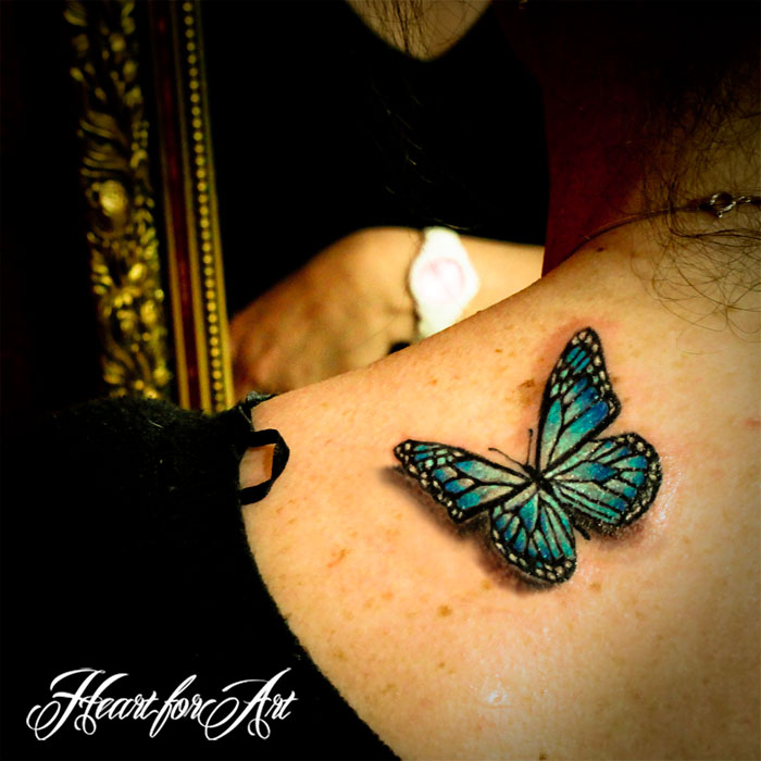 Green Ink 3D Butterfly Tattoo Design For Shoulder