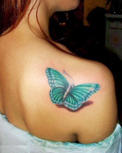Green Ink 3D Butterfly Tattoo On Girl Right Back Shoulder