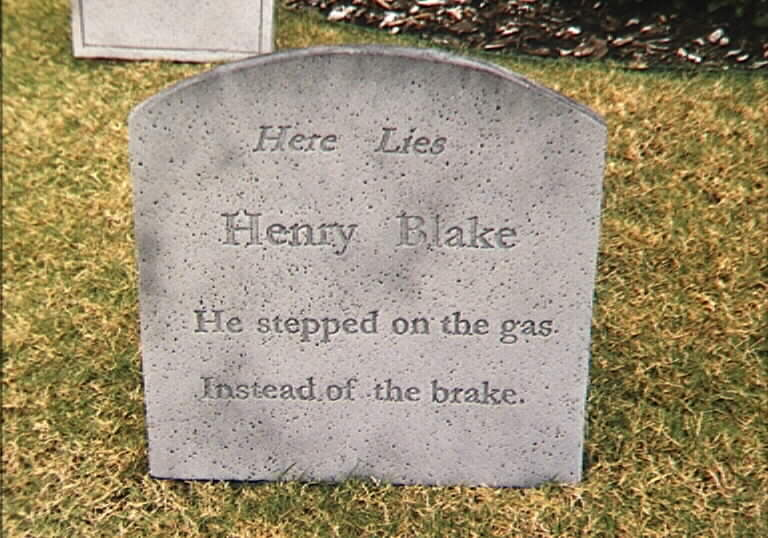 he stepped on the gas funny tombstone picture