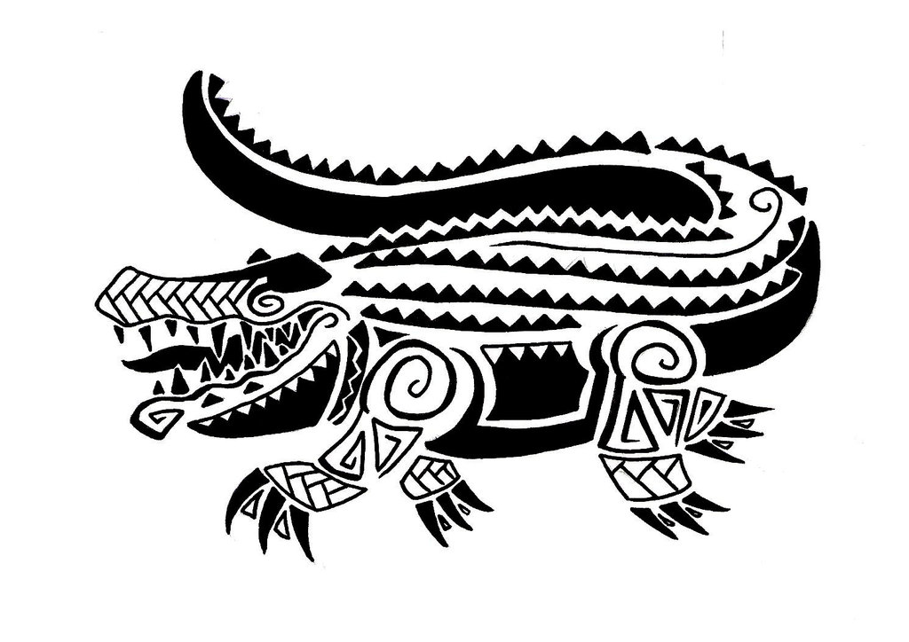 Tribal gator tattoo
