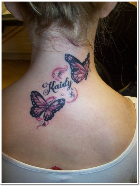 Kaidy - 3D Two Flying Butterflies Tattoo On Back Neck