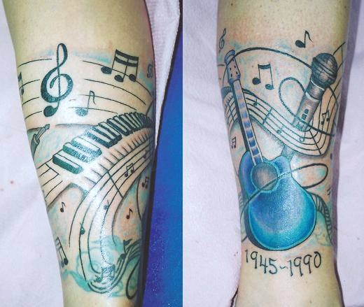 d4cdceb4a3e5c Memorial Guitar With Keyboard And Mic Tattoo Design For Arm