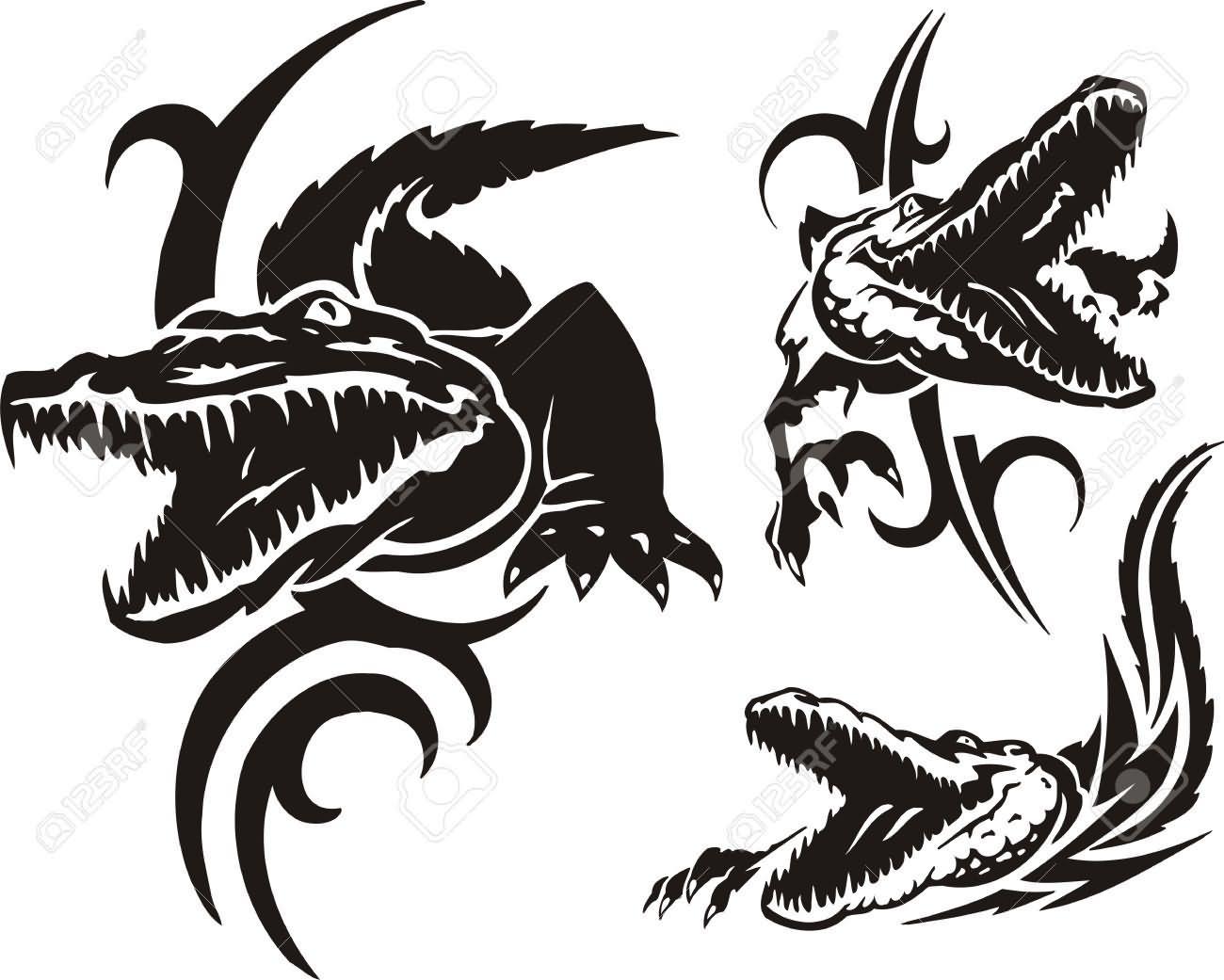 0c023ba7ece49 Mind Blowing Black Three Alligator Head Tattoo Design
