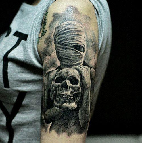 Mummy Girl With Skull Tattoo On Half Sleeve