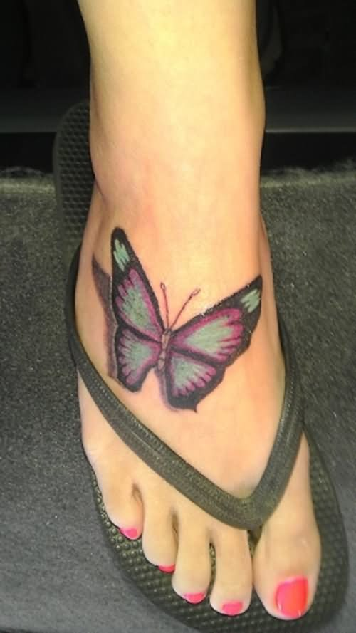 Nice 3D Butterfly Tattoo On Girl Foot