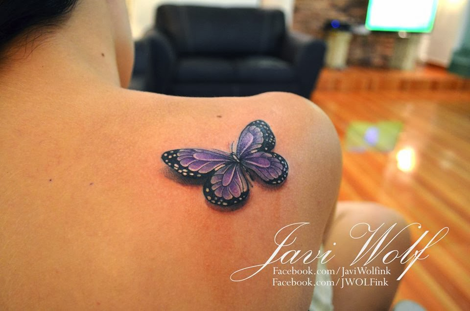 Purple And Black 3D Butterfly Tattoo On Right Back Shoulder