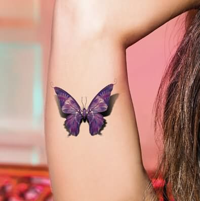 Purple Ink 3D Butterfly Tattoo Design For Half Sleeve