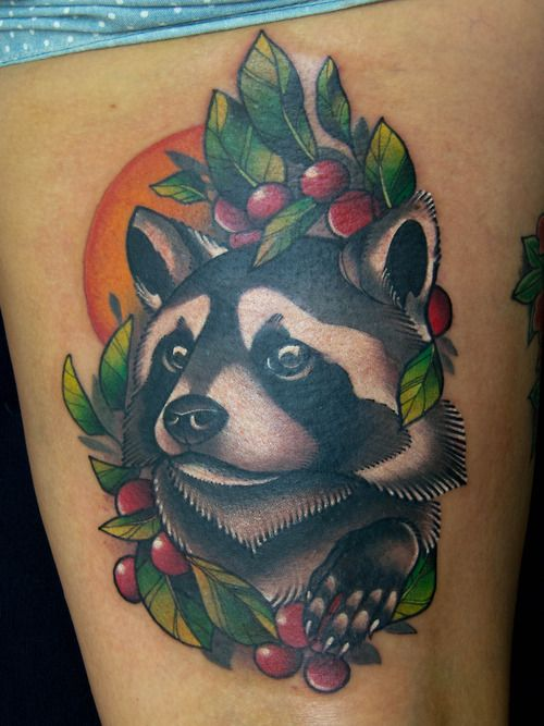 9934d8efc Raccoon With Fruits Tattoo On Thigh