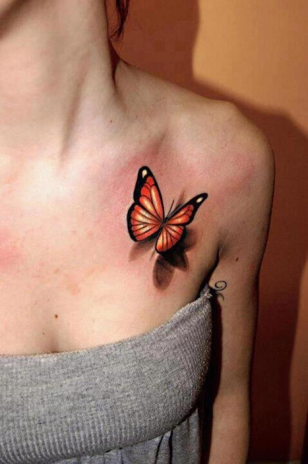 Realistic 3D Butterfly Tattoo On Girl Left Front Shoulder