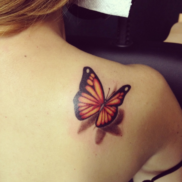 Realistic 3D Butterfly Tattoo On Girl Right Back Shoulder