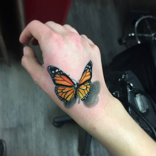 Realistic 3D Butterfly Tattoo On Hand