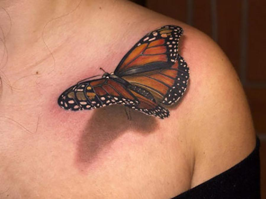 Realistic 3D Butterfly Tattoo On Left Front Shoulder