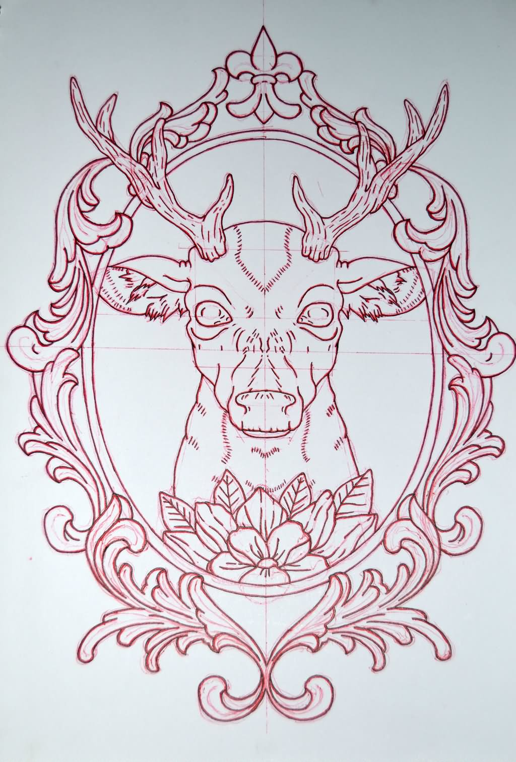 awesome deer head in frame tattoo design for shoulder. Black Bedroom Furniture Sets. Home Design Ideas
