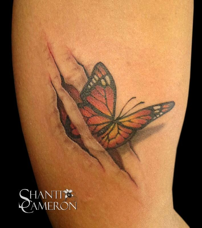 Ripped Skin 3D Butterfly Tattoo Design For Half Sleeve