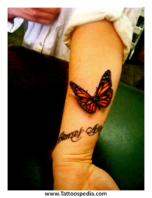 Simple 3D Butterfly Tattoo Design For Forearm